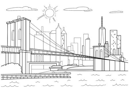 Architecture. Brooklyn bridge. Art line on a black background.New York on a white background.Coloring for adults.