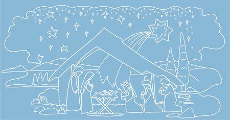 Jesus in a manger scene. Christmas.
