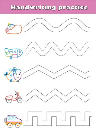 Trace line worksheet for preschool kids with car, helicopter, airplane, train, boat.