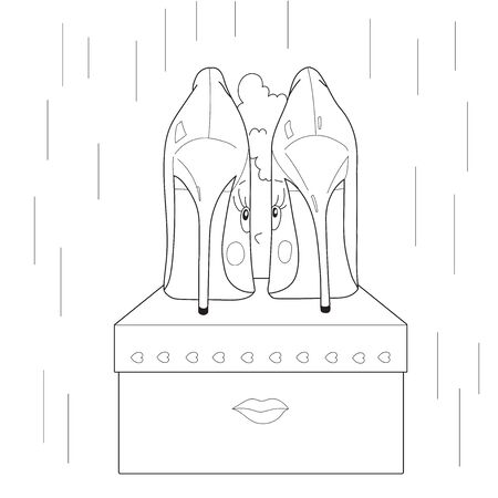 Vector illustration of women's shoes. Face of a girl. Anti stress Coloring Book page for adult.