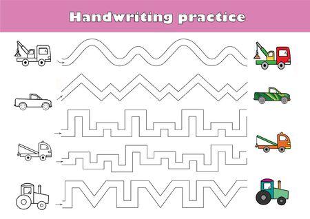 Fiche pratique d'écriture. Jeu éducatif pour enfants, traçage des vagues. Rédaction d'une feuille de travail imprimable pour la formation. Voitures.