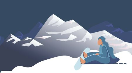 snowboarding in the mountains. Vector illustration that promotes recreation, sports, tourism and travel. Colorful landscape with snow-covered hills and wild coniferous forest.