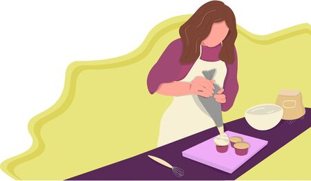 Woman prepares baking banner for bakery shop, bakery blog or courses. Landing page, vector flat style.  イラスト・ベクター素材