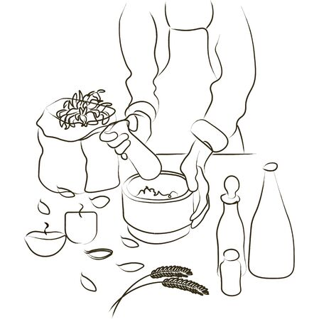 Woman is preparing natural pharmacy herbs, Ecological Herbs and Plants Ingredients for Alternative Pills Creation. Vector Flat Style Illustration Vectores