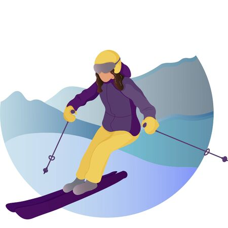 Women Skiing flat design in montaice