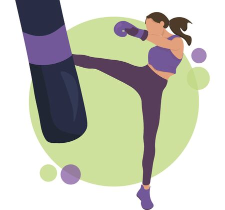 Young Woman Training Kick Boxing in the Gym. Flat Vector Illustration. Design for Banner, Poster, Header, Advertising. Young Female Healthy Lifestyle Concept.