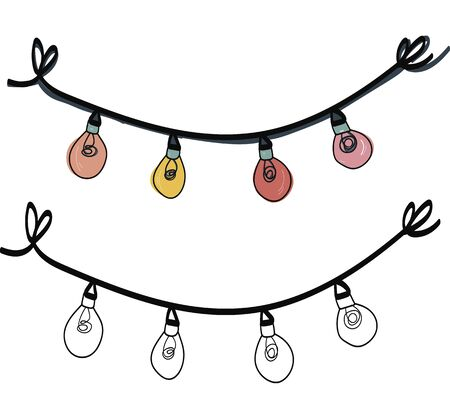 chrismas light garland Single hand drawn elements New Year greeting cards, posters, stickers and seasonal design. Isolated on white background. Doodle vector illustration