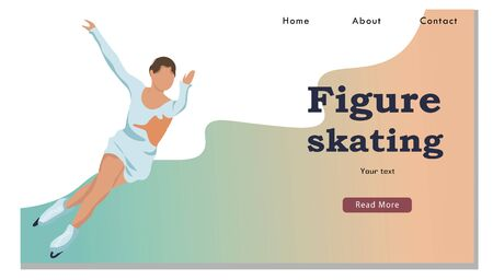 Winter Sport Figure Iceskating Activity Website Landing Page. Sportswoman Performing on Ice Rink with Skating Program. Competition Web Page Banner. Cartoon Flat Vector Illustration