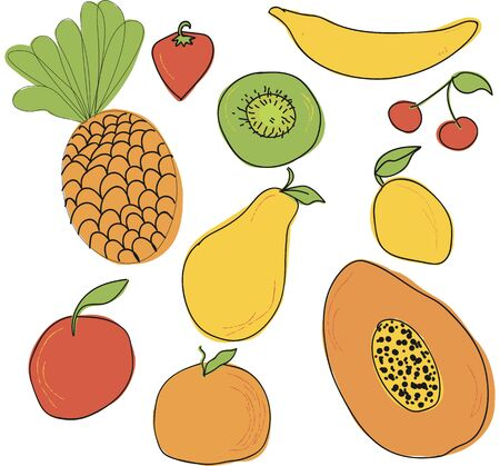 Set of fruits drawn Vector sketch. Sketch line. Apple, pear, peach, lemon, orange, lime Tangerine kiwi figs banana