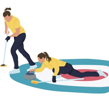 Women Sports Team Playing Curling Game Girl Sweeping Ice with Special Brushes and Pushing Granite Stones to Target on Ice Rink . Cartoon Flat Vector Illustration
