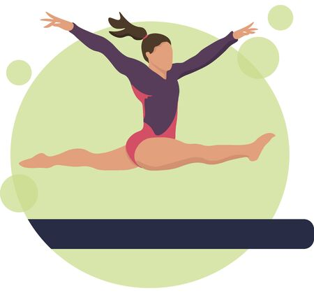 Young girl gymnast exercise sport athlete vector illustration. Training performance strength gymnastics. Championship workout acrobat beautiful character.Women Acrobatic Gymnastics, flat vector Vectores