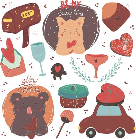 Cute Valentins set, hand drawn doodle elements clipart, gifts,mug, holiday mugs, leter, cat, coala and car. Perfect for web, greeting card, poster, tag, sticker kit.Vector