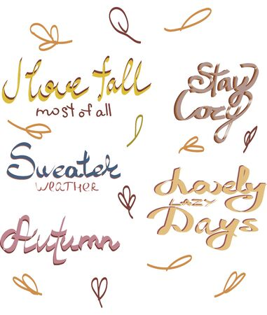 Autumn hand drawn elements lettering typography with decorative,