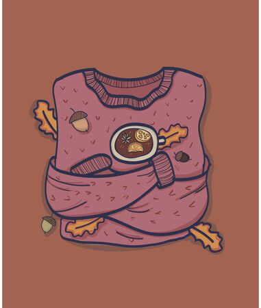Cute sweater in hygge style. Scandinavian cozy element for print, textile, postcard, stickers, site design or other design project. Vector illustration. Archivio Fotografico - 137849027