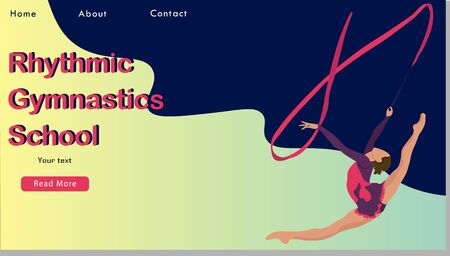 Women rhythmic gymnastics with ribbon Sport Life. Flat Vector Illustration, Design for Banner, Poster, Header, Advertising. Young Female Healthy Lifestyle Concept. rhythmic gymnastics landing page