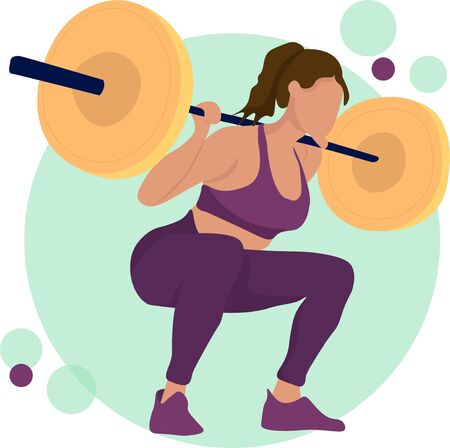 Young girl gym exercise sport athletet vector illustration. Training performance gym . Championship workout beautiful character. Women with barbell, flat vector