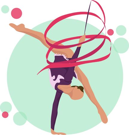 Young girl rhythmic gymnastics with ribbon vector illustration. Training performance strength gymnastics. Championship workout rhythmic gymnastics beautiful character. Иллюстрация