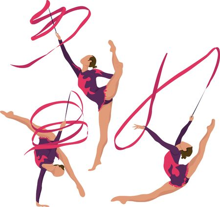 Young girl rhythmic gymnastics with ribbon vector illustration. Training performance strength gymnastics. Championship workout rhythmic gymnastics beautiful character.