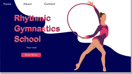 Women rhythmic gymnastics with hoops. Sport Life. Flat Vector Illustration, Design for Banner, Poster, Header, Advertising. Young Female Healthy Lifestyle Concept. rhythmic gymnastics landing page 일러스트