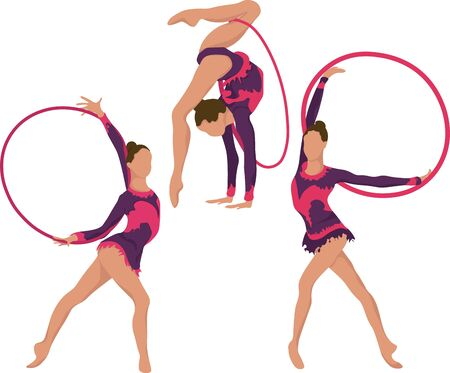 Set girl rhythmic gymnastics with hoops vector illustration. Training performance strength gymnastics. Championship workout rhythmic gymnastics beautiful character.Women Acrobatic Gymnastics