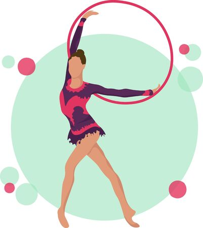 Young girl rhythmic gymnastics with hoops vector illustration. Training performance strength gymnastics. Championship workout rhythmic gymnastics beautiful character.