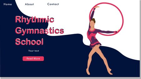 Women rhythmic gymnastics with hoops. Sport Life. Flat Vector Illustration, Design for Banner, Poster, Header, Advertising. Young Female Healthy Lifestyle Concept. rhythmic gymnastics landing page Stock Illustratie