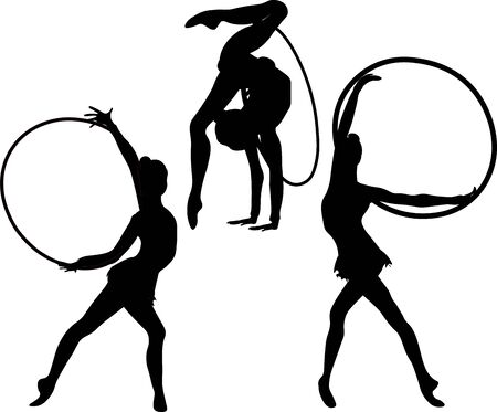 Set girl rhythmic gymnastics silhouette with hoops vector illustration. Training performance strength gymnastics. Championship workout rhythmic gymnastics beautiful character.Women Acrobatic Gymnastics, flat Illustration