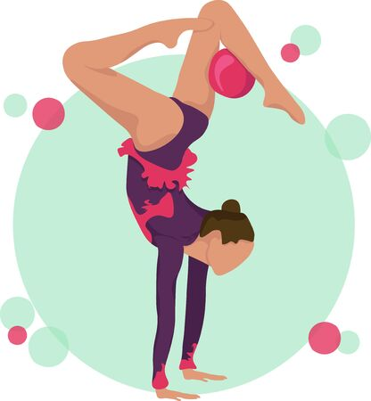 Young girl rhythmic gymnastics with ball vector illustration. Training performance strength gymnastics. Championship workout rhythmic gymnastics beautiful character.