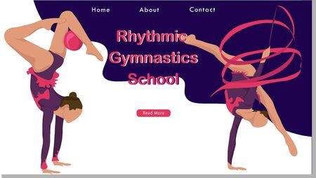 Women rhythmic gymnastics Sport Life. Flat Vector Illustration, Design for Banner, Poster, Header, Advertising. Young Female Healthy Lifestyle Concept. rhythmic gymnastics landing page