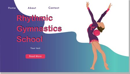 Women rhythmic gymnastics with ball Sport Life. Flat Vector Illustration, Design for Banner, Poster, Header, Advertising. Young Female Healthy Lifestyle Concept. rhythmic gymnastics landing page