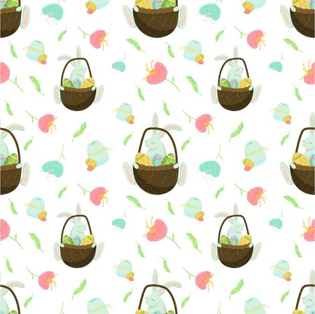 Happy easter seamless pattern, Spring colorful festive easter holiday. Vector graphics, wraping paper, chiken, eggs