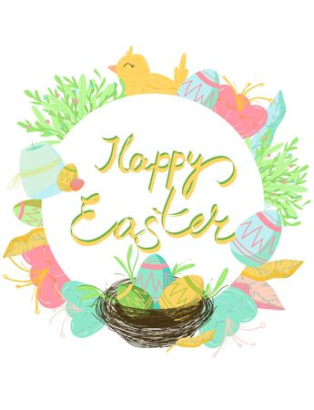 Colorful Happy Easter greeting card with rabbit, bunny and text Standard-Bild - 139719243