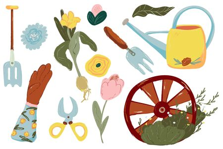 Spring Gardening Set. Tools and decorations for the garden.Gardening equipment. Isolated illustration on white background. Farm collection or farming set illustration. Elements, clipart
