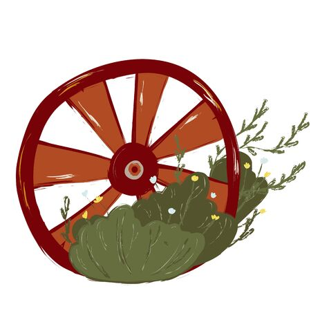 Single wheel with plants.Gardening decoration. Vector. doodle clipart. Isolated on a white background. For design, cards, invitation, decoration stickers