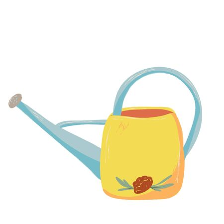 Single garden watering can. Garden decoration and tools. Vector. doodle clipart. Isolated on a white background. For design, cards, invitation, decoration, stickers