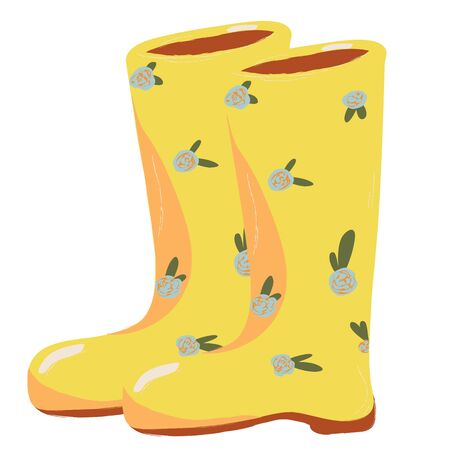 Single Rubber yellow gardening boots. Vector doodle clipart. Isolated on a white background. For design, cards, invitation, decoration, stickers