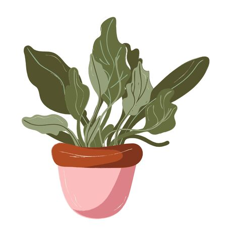 Single garden pot with plant. Garden decoration and tools. Vector. doodle clipart. Isolated on a white background. For design, cards, invitation, decoration, stickers Vector Illustratie