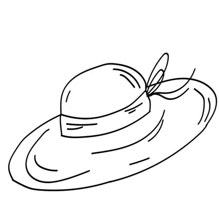 Single doodle outline garden hat. Garden decoration and tools. Vector. doodle clipart. Isolated on a white background. For design, cards, invitation, decoration, stickers Ilustracja