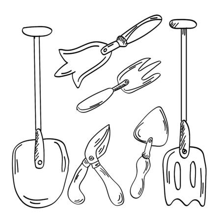 Set single doodle outline garden rake and garden tools. Vector. doodle clipart. Isolated on a white background. For design, cards, invitation, decoration, stickers.