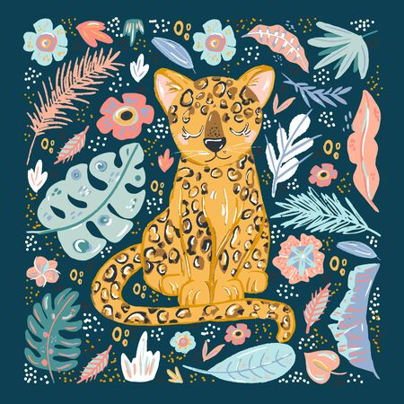 cute cheetah doodle hand drawn flat vector illustration. Cartoon abstract animal in scandinavian style. Wild rainforest animal. Grass branches with leaves, flowers and spots design element. Tropical.