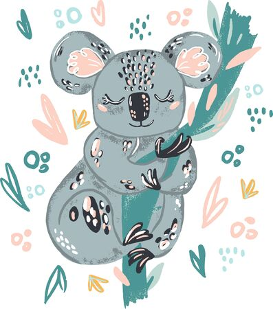 Coala cute doodle hand drawn flat vector illustration. Wild rainforest animal vector poster floral background.Grass branches with leaves, flowers and spots design element. Tropical jungl 向量圖像