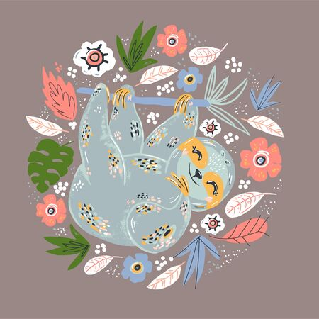 Sloth flat hand drawn circle illustration. Lazy cartoon animal character hanging on tree branch. Multicolor poppies flowers vector border. Sleepy mammal with cute face holding heart.