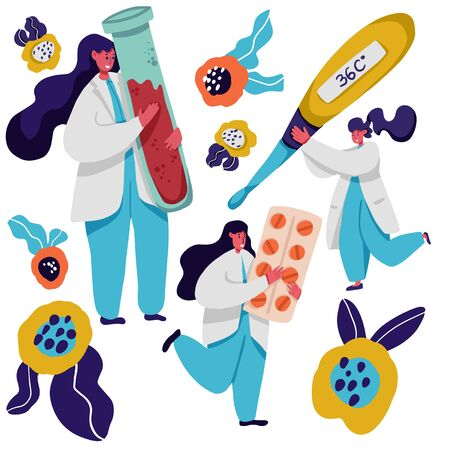 People in white coats flat vector illustrations set. Scientist and assistant, medical doctors cartoon characters. Woman holding clipboard, man working with laptop. Researchers analyzing test results