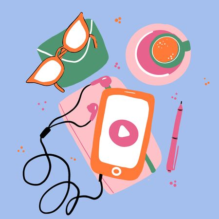 Listening to music on smartphone. Earphones and phone. Vector flat illustration of music player on white background