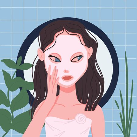 Young woman with facial mask relaxing in spa, beauty or massage salon among flowers. illustration  イラスト・ベクター素材