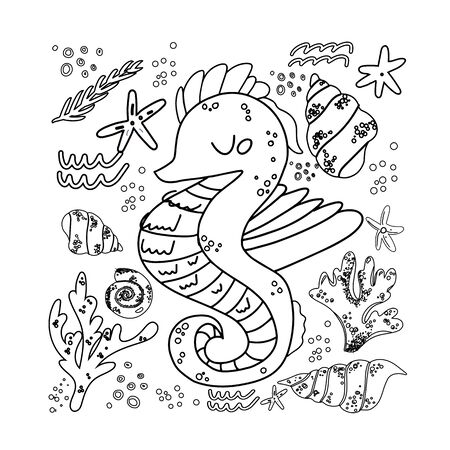 Sea horse, vector illustration of marine tropical fish. Totem animal for tattoos. Design element. Linear stylized image of of marine life. Print on t shirt, cover. Mascot.