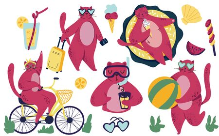 Characters set of cat. Vacation, summer, sport, fun, lifestyle theme. Scandinavian style. Hand drawn cartoon style vector illustration for prints, kids products, cards, posters, packaging