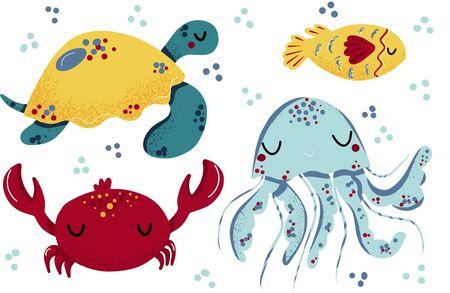 Vector Sea set. Sea animal in children s style. Cartoon fish. Ilustracja