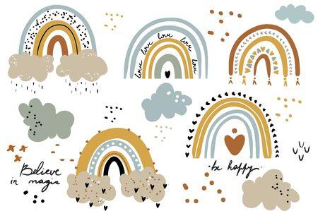 Vector rainbow clipart set Children illustration Modern print for girl or boy Nursery Modern Printable art on white background Ilustracja