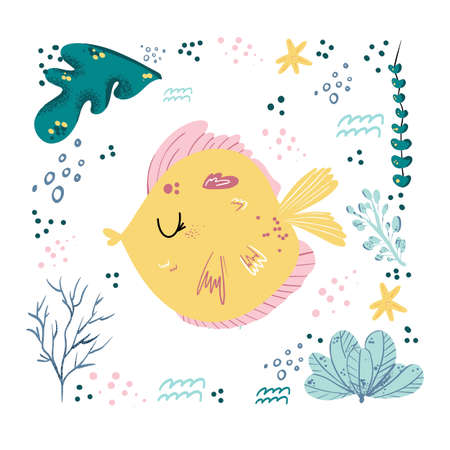 Fish cute doodle hand drawn flat vector illustration. Wild sea marine animal vector, poster floral background. Grass branches with leaves, flowers and spots design element. Sea, ocean, marine